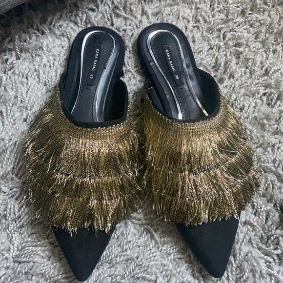 Gold and black fringed mules